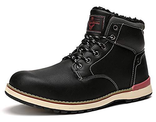 ABTOP Hombre Botines Zapatos Botas Nieve Invierno Botas Impermeables Fur Forro Aire Libre Boots (43 EU, A8387-Negro)