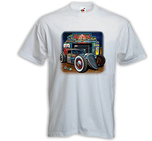Hot Rod T-Shirt Rat Rod Garage weiß Zündkerze US Rockabilly V8 Gr. S (Rat Rod Garage)