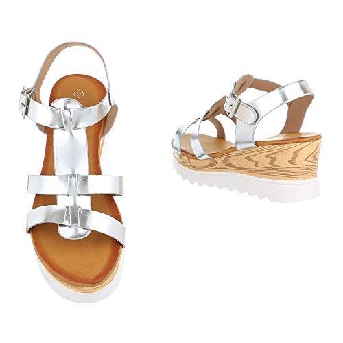 Riemchensandalen Damenschuhe Knöchelriemchen Riemchen Schnalle Ital-Design Sandalen / Sandaletten Silber