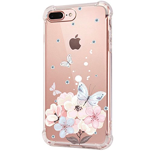 iPhone 8Plus Hülle, Silikon TPU Ultra Dünn Stoßfest, Anti-Scratch Transparent Soft Hülle Crystal Clear Weich Handyhülle Bumper Cover Schutzhülle für iPhone 8Plus/7Plus (09) Flip-blende