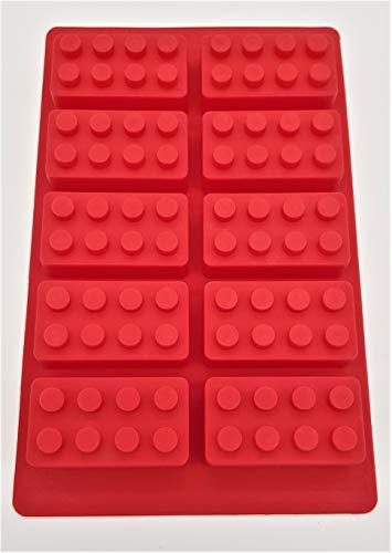 Unbekannt Pralinenform Silikon Lego Stein rot blau Backen Kuchen Kinder (blau)