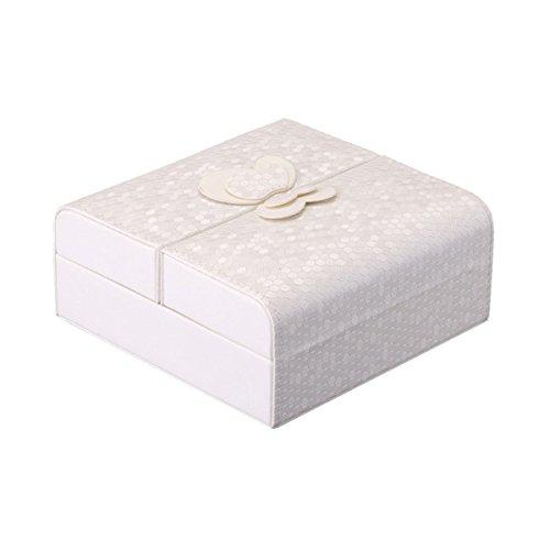 Schmuckkasten, Cozyswan Schmuckkästchen Klein Schmuckkästen Schmuckbox Lederoptik Schmetterling Dekoration Anzeigen Lagerung Veranstalter für Ringe Ohrringe Halskette - Weiß