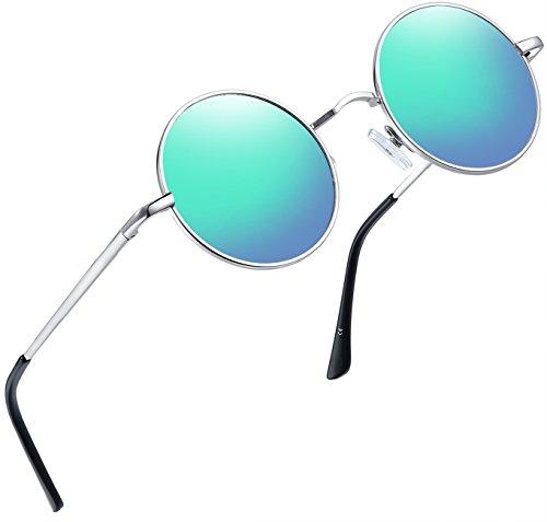 Joopin polarisierte Runde Sonnenbrille Männer Frauen Retro Steampunk Sonnenbrille E4056(Grün-Blau)