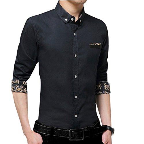 Camicia A Maniche Lunghe Di Colore Solido Uomini Slim Inverno Black