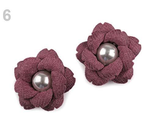 2stück 6 Rosa-lila Blume Mit Perle Ø23mm, Textilblumen, Verzierungen Für Kleidung, Schuhe Und Zubehör, Kurzwaren