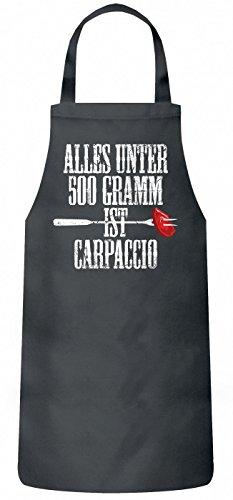 Shirt Happenz Grillen Carpaccio Schürze Grillen Barbecue BBQ Kochen & Backen Grillschürze, Farbe:Grau (Steel PW102);Größe:60cm x 87cm