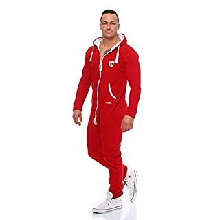 Gennadi Hoppe Herren Jumpsuit Onesie Jogger Einteiler Overall Jogging Anzug  Trainingsanzug Slim Fit,rot, 622f876678