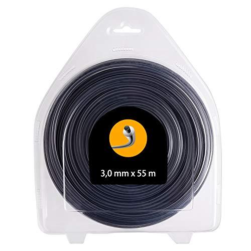 FEPITO Hilo para desbrozadora - Redondo - 3,0mm - 55m - Doble Hilo 2 en 1, Calidad Profesional 3,0...
