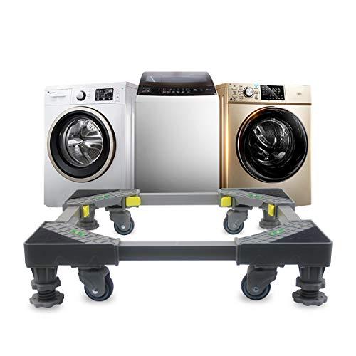 Grandekor Waschmaschine Sockel verstellbar beweglicher Basis mit 4 Gummi-Räder und 4 Füßen, Universal Roller Trolley für Waschmaschine Trockner und Kühlschrank 47.5-62cm