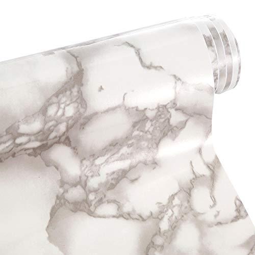 Chengu 16 Mal 120 Zoll Rollmarmor Effekt Kontakt Papier Grau und Weiß Granit Aussehen Rolle Wasserdichte PVC Selbstklebefolie für Küchenarbeitsplatte Kabinett Möbel Ist Renoviert