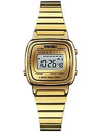 131461cc16f1 Su-luoyu Reloj de Pulsera de Acero Inoxidable a Prueba de Agua para niña de