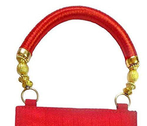 Bhamini manico, dicono le donne s Reshan-Spilla a forma di borsa etnica, colore: mandorla rosso