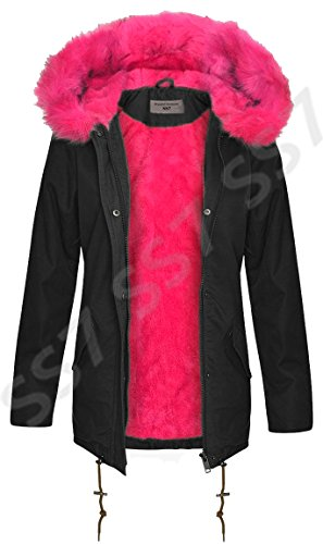 SS7 Damen pink Kunstpelz Parka Mantel,sizes 8 to 16 Schwarz/Pink