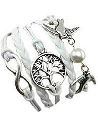 Armband Unendlichkeit Baum des Lebens Taube und Perle Silber Weiß Infinity besser Lederband anhänger One Direction