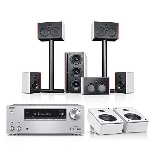 Teufel System 4 THX AVR für Dolby Atmos 5.1.2-Set Weiß/Weiß/Silber Film Subwoofer Lautsprecher Movie Musik Raumklang Sound Heimkino DTS HD