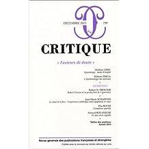Critique, N° 799, décembre 2013 : Fauteurs de doute