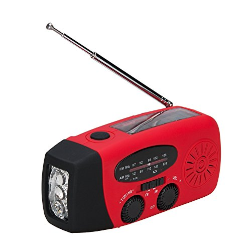 Lychee Solar-Self-Powered Dynamo Nothandkurbel Aufzieh-AM/FM / WB Digital Radio LED Taschenlampe, Beacon, Handy-Ladegerät im Freien