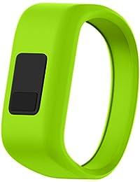 garmin vívofit jr correas de silicona de pulsera de repuesto suave para garmin vívofit jr pulsera tracker de actividad para niños - banda de gran tamaño o pequeño tamaño - Sannysis (120-145mm, verde)