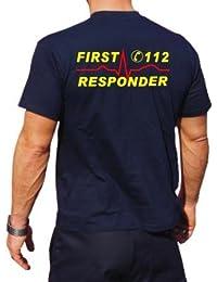 Camiseta de First Responder con número de emergencia y ritmo cardíaco–Amarillo/Rojo, ambos lados, todo el año, color azul marino, tamaño extra-large