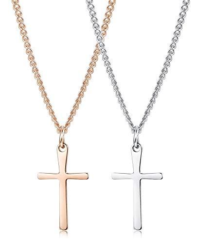 Milacolato 2 stücke Edelstahl Tiny Cross Halskette Set für Frauen Kinder Mädchen Junge Kleine Kreuz Pendent Halskette 16
