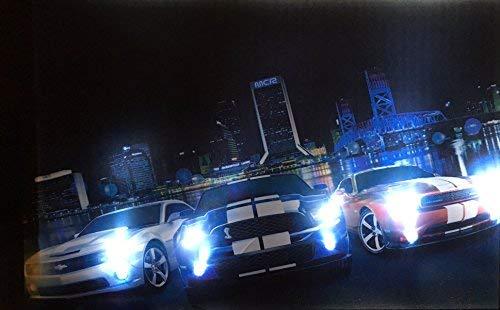 Samarkand-Lights LED-Bild mit Beleuchtung LED- Bilder Leinwandbild 65 x 45 cm Leuchtbild Muscle CAR Auto Wandbild