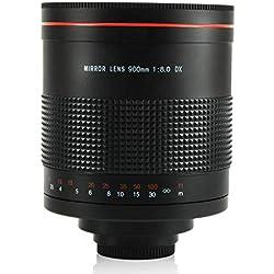 WLPT Lente de Espejo teleobjetivo, Lente de cámara de 900 mm F8.0 Súper teleobjetivo Adecuada para Canon Pentax E Monte Nikon D850 D810 D800 D750, etc,Sony
