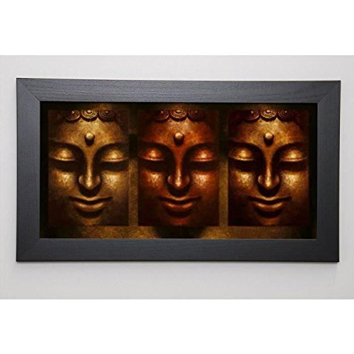 MAHAYANA Image encadrée Buddha in Three Lights 29,7x57 cm Marron
