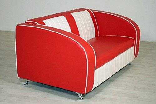 moebelstore24 Sitzbank Sofabank Belvedere American Diner 50er Jahre Rot-Weiß