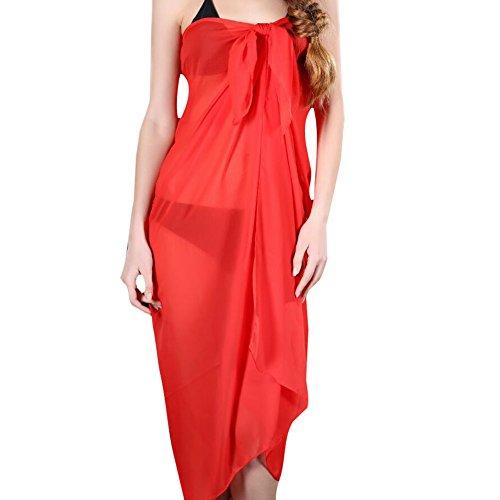 Damen Chiffon Beachtuch Sarong Pareo Wickelrock Strandkleid Bikinirock Deylay Strandkleider Größe 100cm x 150cm Rot