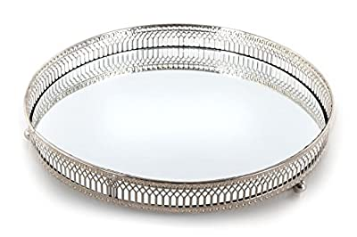 Mirror Glass Metal Antique Decorative Silver Candle Plate Display Tray by Annibells at Home