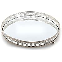 Mirror Glass Metal Antique Decorative Silver Candle Plate Display Tray
