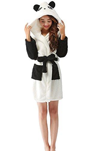 LazLake Flauschiger Bademantel Tier Saunamantel Morgenmantel mit Kapuze Pyjama kostüm Panda M