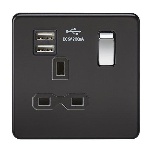 Knightsbridge sfr9901mb 13A 1G vite meno opaco, Presa con interruttore a bilanciere cromato e caricatore USB doppio, colore: nero