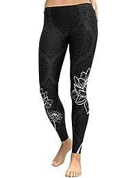 DOGZI Mujer Yoga Fitness Pantalones Polainas Recortadas Pantalones EláSticos  De Cintura Pantalones De Entrenamiento De Yoga bc522e819626