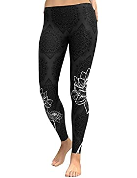 DOGZI Mujer Yoga Fitness Pantalones Polainas Recortadas Pantalones EláSticos De Cintura Pantalones De Entrenamiento...