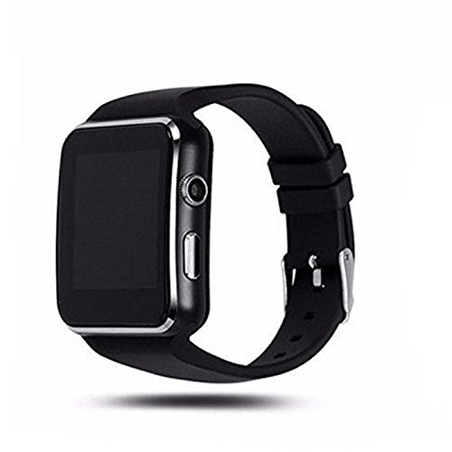 Samsung Galaxy S8 (Edge Compatible Bluetooth Certified Smart Phone Watch | X6 Wrist Watch Phone with Camera & SIM Card Support | Hot Fashion | New Arrival | Lowest Price | Apps like Facebook and Whatsapp | Read Message or News | Sports | Health | Pedometer | Sedentary | Remind & Sleep Monitoring | Better Display | Loud Speaker | Microphone | Touch Screen | Multi-Language | Best Selling Premium Quality Smart Watch By MAKECELL (Colour: Black)