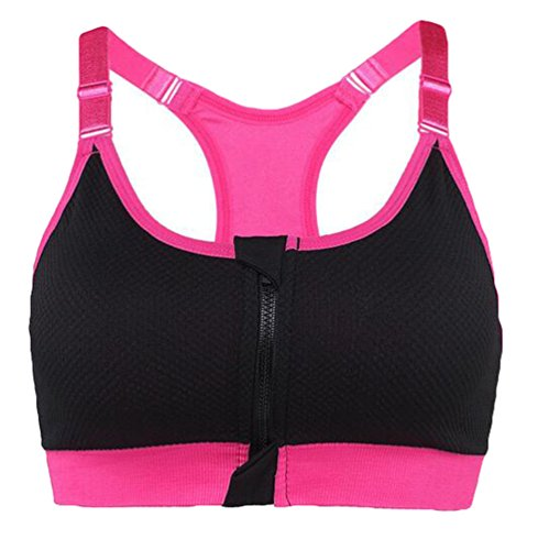 WanYang Femme Brassière Soutien Gorge De Sport Push up Underwear Bra Zip Fitness Yoga Jogging Noir