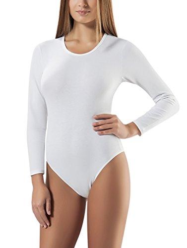 VEDATS Damen Modal Body Langarm Rundhals Top Unterhemd Bodysuit Schwarz Weiß Hautfarben S M L XL (M, (Anzug Weißen Billig)