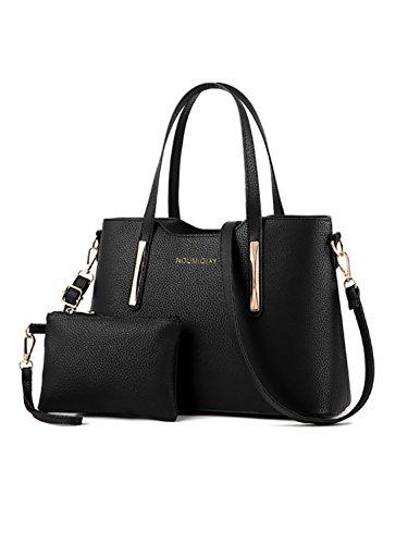 CLOCOLOR Fashion Damen Handtasche Set 2 Teiliges mit Geldbörse PU Leder Henkeltasche Schultertasche Schwarz
