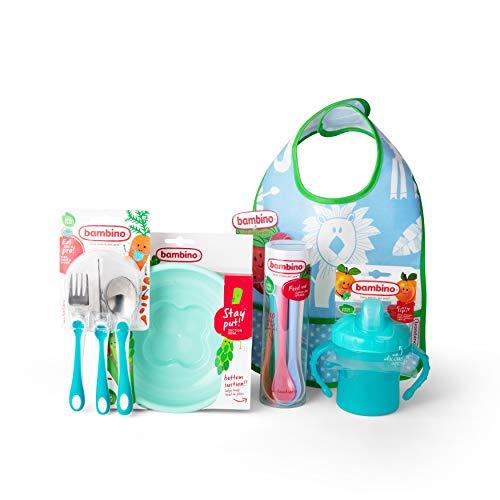Bambino Vajilla infantil, juego de 5 accesorios para bebés de materiales seguros, incluye cubiertos para niños, babero, plato, vaso y cucharillas