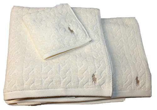 Polo Ralph Lauren Kabel Handtuch Set 3Cream, Face Reinigungstuch Badelaken jk86, cremefarben, Einheitsgröße (Ralph Lauren Badetücher)