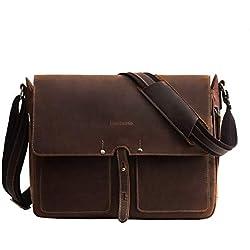 Bolso Hombre de Piel Bandolera pequeña Cuero Verdadero de Caballo Loco Bolso Mensajero para señores en el Diario messeger Bag tamaño Mediano marrón