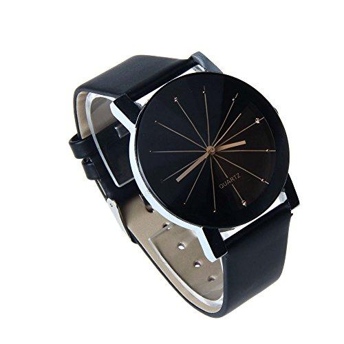 Xuthuly Männer Quarz Zifferblatt Uhr Leder Armbanduhr rundes Gehäuse