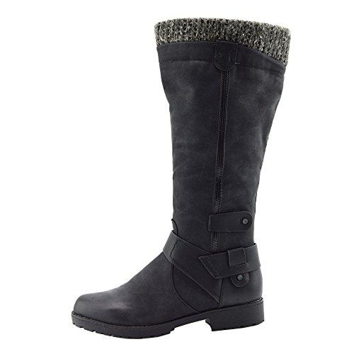 Donne Basse Blocco Tacco Zip Stivali Invernali a Cavallo Elastico Ampia Albero Scarpe Nero