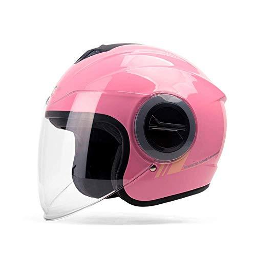 JKLL Mezzo Casco Moto con tettuccio Parasole Quick Release Strap Fit per Bici da Crociera Scooter Harley DOT Approvato (Rosa)