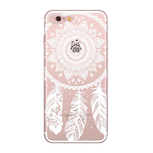 iPhone SE Hülle mit Panzerglas, Bestsky iPhone 5/5s Hülle Transparent Silikon Weiß Henna Mandala Muster Cover Case Durchsichtig Handy Tasche Schutzhülle für Apple iPhone SE/5/5s (4.0 Zoll) #03