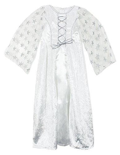 Kostüm Feen Mädchen Oder Engel Weißen - Engel Lea Kostüm mit Sternen für Mädchen - Weiß Silber - Gr. 116