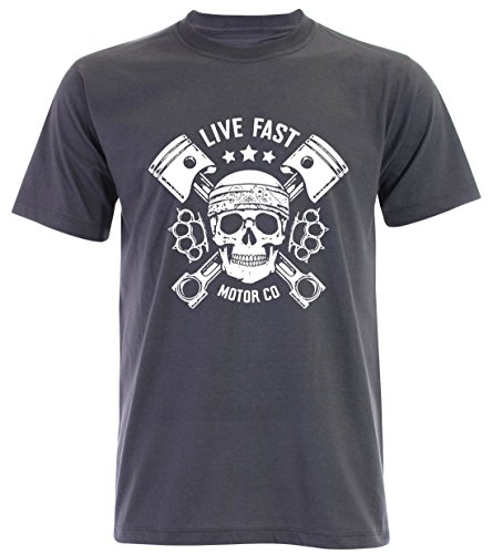 PALLAS Unisex's Motorcycle Club Live Fast Vintage T Shirt Slate Grey