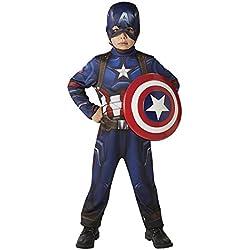 Avengers - Disfraz Capitan America, classic con escudo en caja, infantil, talla S (Rubie's Spain 620772-S)