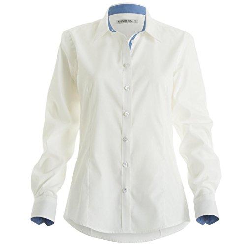 Kustom Kit Damen Bluse White / Mid Blue